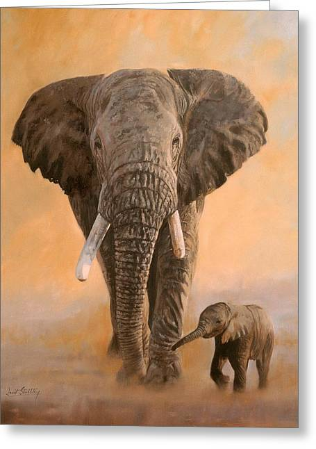 Misty Greeting Cards - African Elephants Greeting Card by David Stribbling