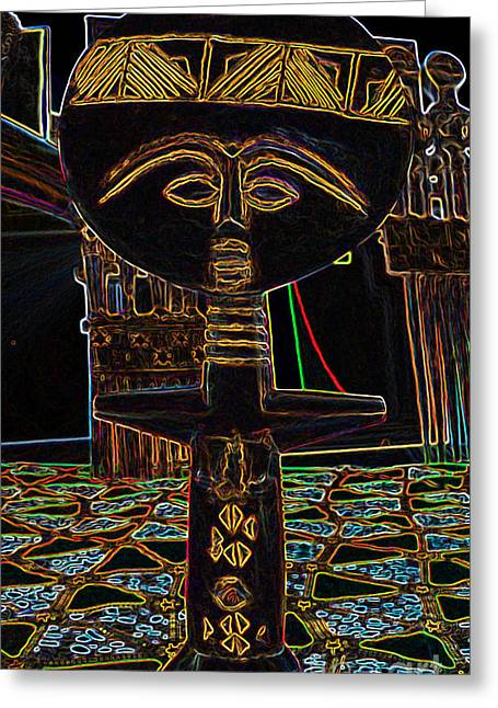 Wooden Sculpture Greeting Cards - African Fertility Sculpture Greeting Card by Duwayne Washington