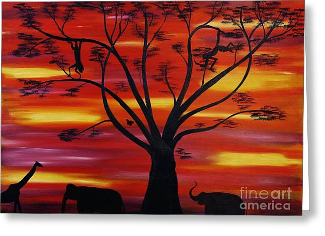 Animals Paintings Greeting Cards - African Fire Sky Greeting Card by Wayne Cantrell