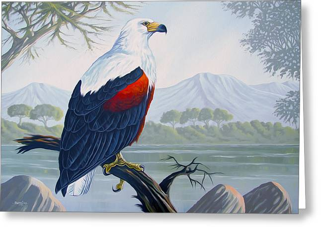 Salmon Paintings Greeting Cards - African fish Eagle Greeting Card by Anthony Mwangi