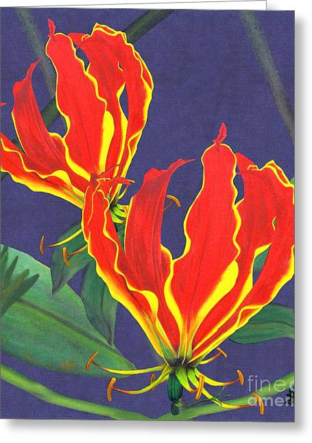Zimbabwe Paintings Greeting Cards - African Flame Lily Greeting Card by Sylvie Heasman