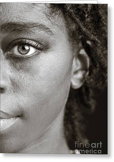 American Women Prints Greeting Cards - African Girl Eye 1193.01 Greeting Card by M K  Miller
