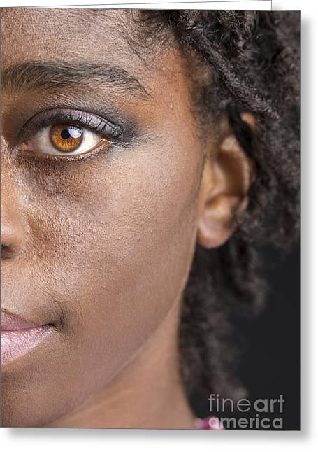 American Women Prints Greeting Cards - African Girl Eye 1193.02 Greeting Card by M K  Miller