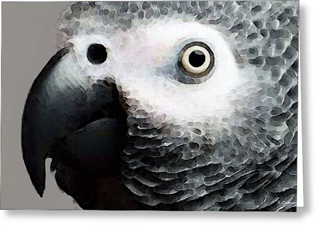 Tropical Bird Greeting Cards - African Gray Parrot Art - Softy Greeting Card by Sharon Cummings