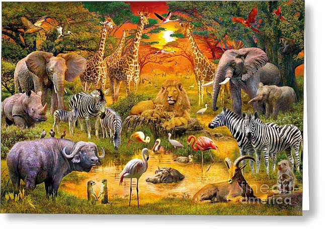 Jungle Animals Greeting Cards - African Harmony Greeting Card by Jan Patrik Krasny