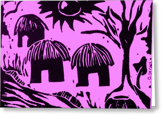 Lino Reliefs Greeting Cards - African Huts Pink Greeting Card by Caroline Street