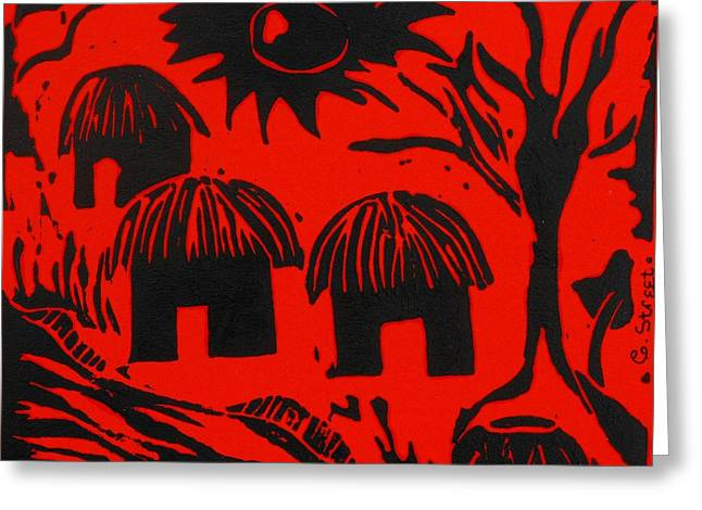 Lino Print Greeting Cards - African Huts Red Greeting Card by Caroline Street