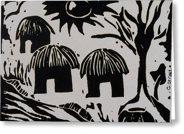 Recently Sold -  - Lino Reliefs Greeting Cards - African Huts White Greeting Card by Caroline Street