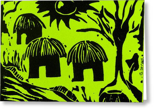 Lino Reliefs Greeting Cards - African Huts Yellow Greeting Card by Caroline Street
