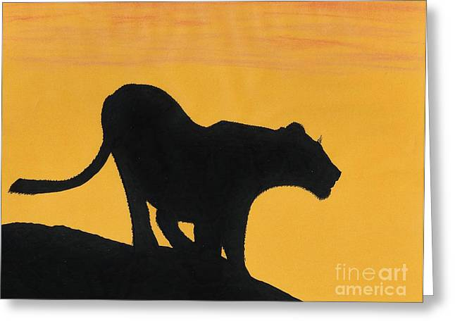 Lioness Drawings Greeting Cards - African Lioness Sunset Greeting Card by D Hackett