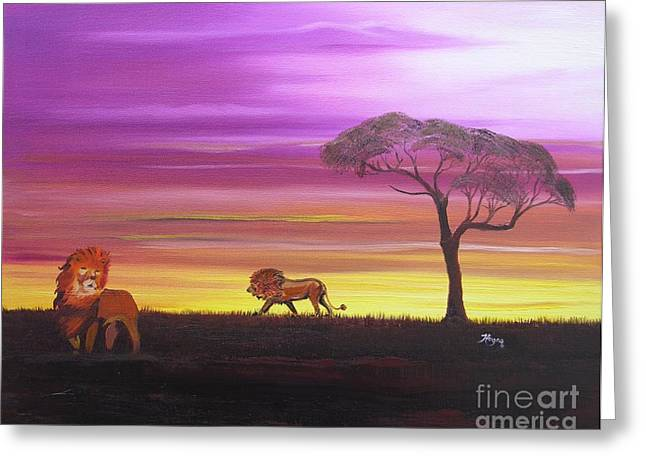 Van Dyke Brown Greeting Cards - African Lions Greeting Card by Barbara Hayes