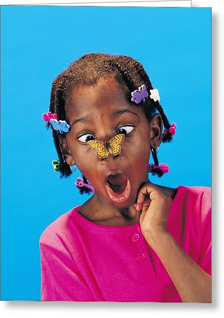 Wonderment Greeting Cards - African Little Girl With Butterfly Greeting Card by Ron Nickel