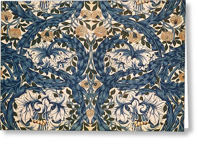 Blue Tapestries - Textiles Greeting Cards - African Marigold design Greeting Card by William Morris