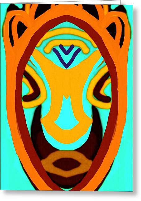 African Heritage Greeting Cards - African Mask 4 Greeting Card by Babatunde Kayode