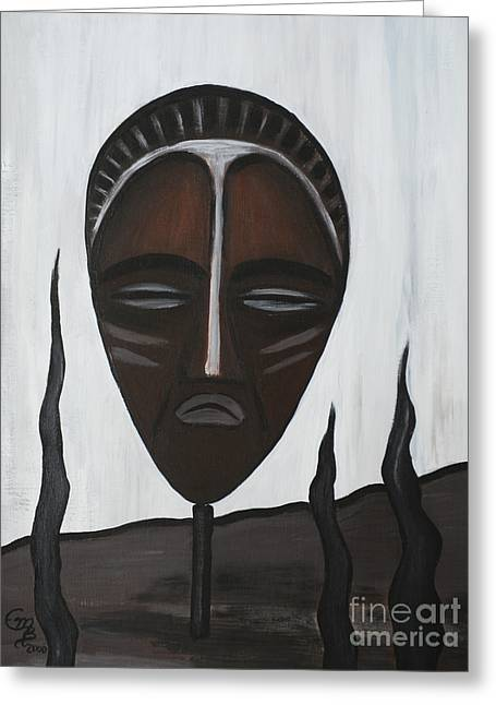 African Mask II Greeting Card by Eva-Maria Becker