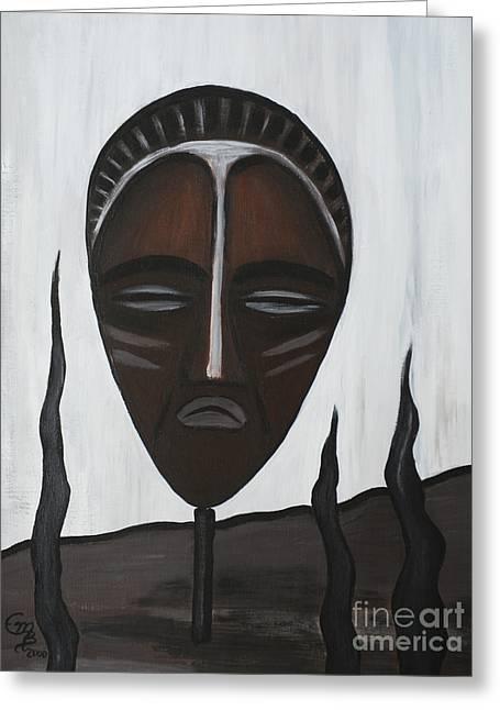 Tala-art Greeting Cards - African Mask II Greeting Card by Eva-Maria Becker