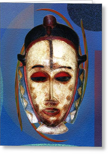 Afrocentric Art Greeting Cards - African Mask Greeting Card by Terry Boykin