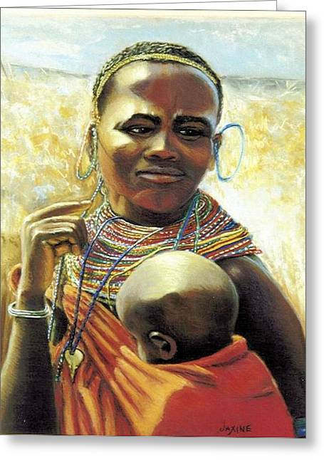 Jewelry Pastels Greeting Cards - African Mother and Child Greeting Card by JAXINE Cummins