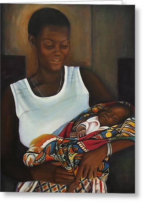 Sheila Diemert Paintings Greeting Cards - African Mother and Child Greeting Card by Sheila Diemert