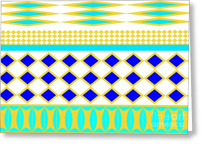 Abstract Waves Tapestries - Textiles Greeting Cards - African pattern  Greeting Card by Lali Kacharava
