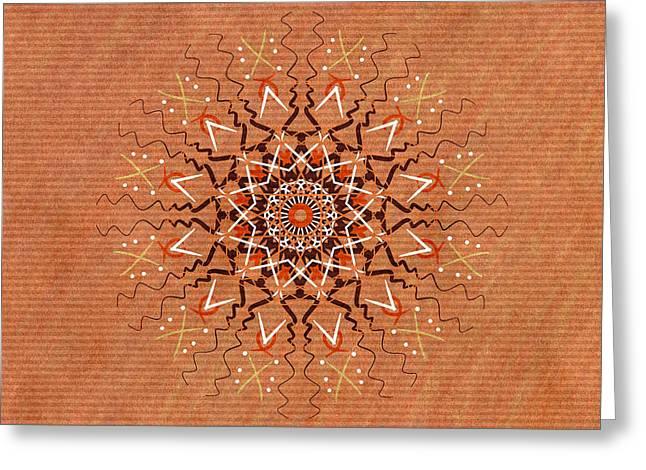 Autumn Mandala Greeting Cards - African Pattern Mandala Greeting Card by Hakon Soreide