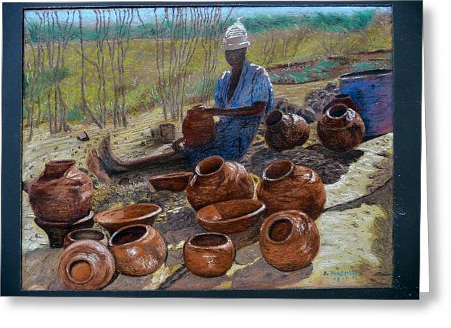 Zimbabwe Drawings Greeting Cards - African Pots and girl. Greeting Card by Rashid Hamza