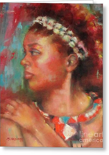 African-american Drawings Greeting Cards - African Princess Greeting Card by Marilyn Weisberg