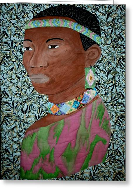 Wall Hanging Quilt Tapestries - Textiles Greeting Cards - African Queen Greeting Card by Linda Egland
