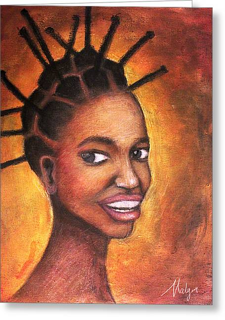 Queen Pastels Greeting Cards - African Queen Greeting Card by Mbwidiffu Malgwi