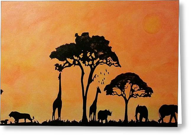 Rhinoceros Mixed Media Greeting Cards - African safari Greeting Card by Twilight Vision