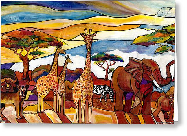 Everett Spruill Mixed Media Greeting Cards - African Serengeti - L Greeting Card by Everett Spruill