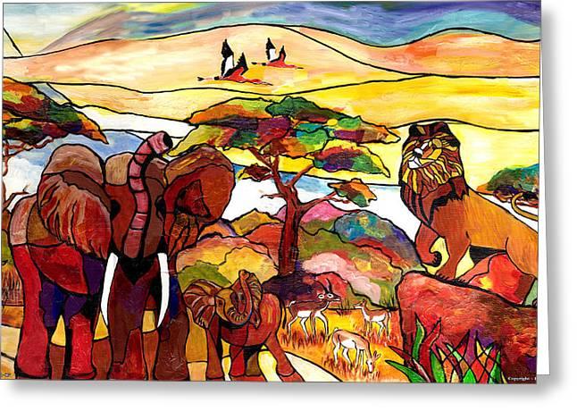 Everett Spruill Mixed Media Greeting Cards - African Serengeti - R 2012 Greeting Card by Everett Spruill