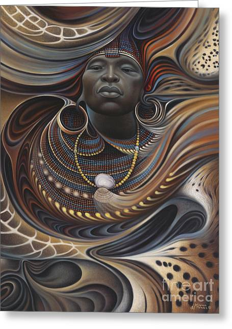 Brown Tone Greeting Cards - African Spirits I Greeting Card by Ricardo Chavez-Mendez