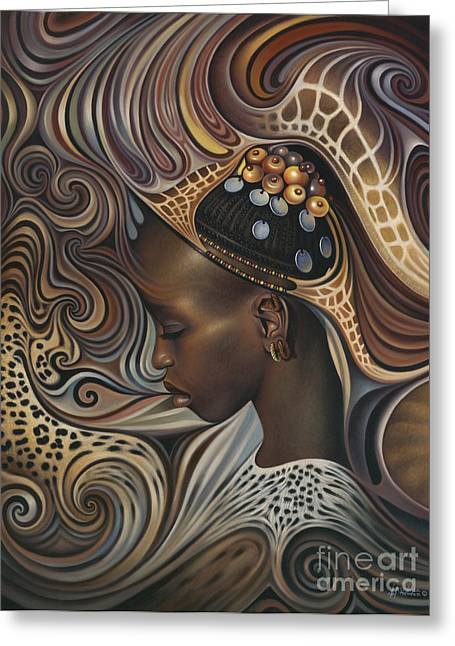 Spirit Paintings Greeting Cards - African Spirits II Greeting Card by Ricardo Chavez-Mendez