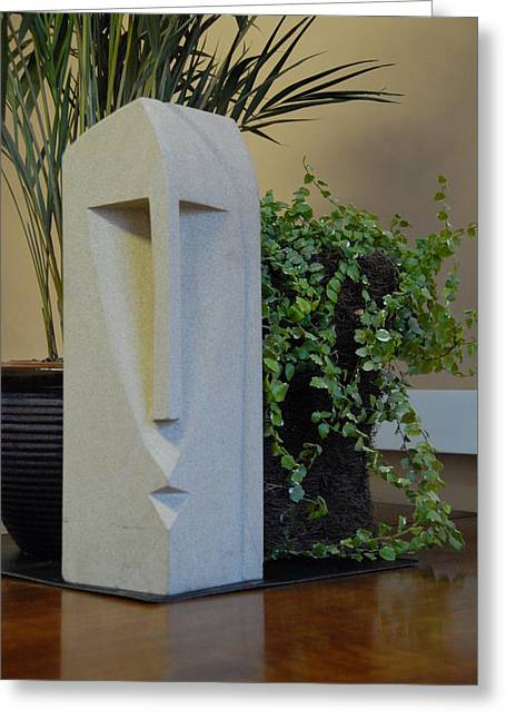 African Sculptures Greeting Cards - African Stone Face Greeting Card by Stephen Nicholson