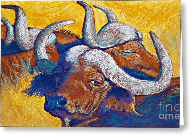 Cattle Pastels Greeting Cards - African Sun Greeting Card by Tracy L Teeter