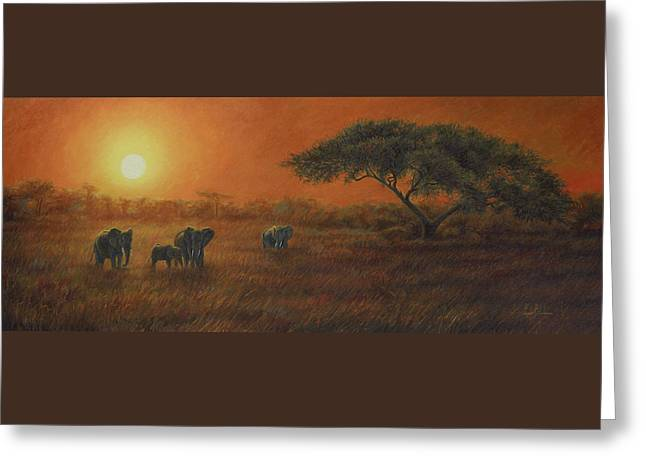 African Elephants Greeting Cards - African Sunset Greeting Card by Lucie Bilodeau