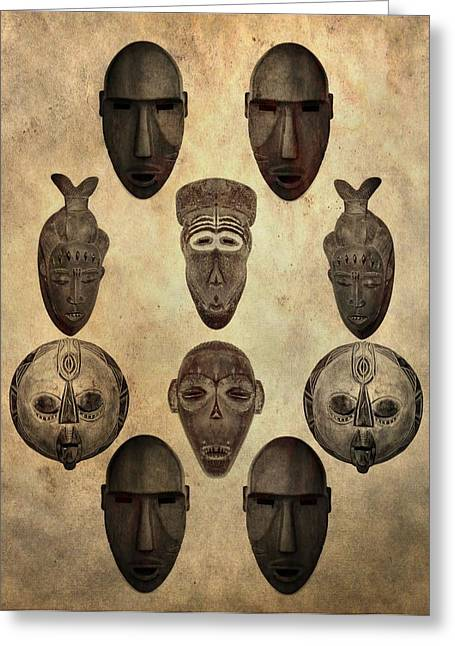 Anthropologists Greeting Cards - African Tribal Masks Greeting Card by Dan Sproul