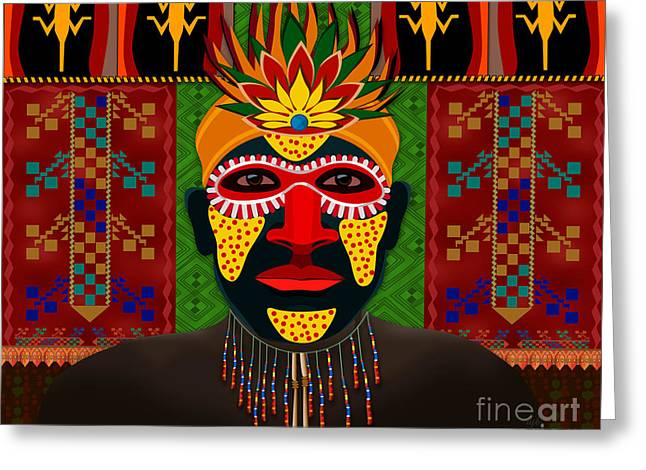Aboriginal Mixed Media Greeting Cards - African Tribesman 1 Greeting Card by Bedros Awak