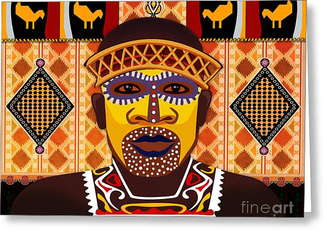 Aboriginal Mixed Media Greeting Cards - African Tribesman 2 Greeting Card by Bedros Awak