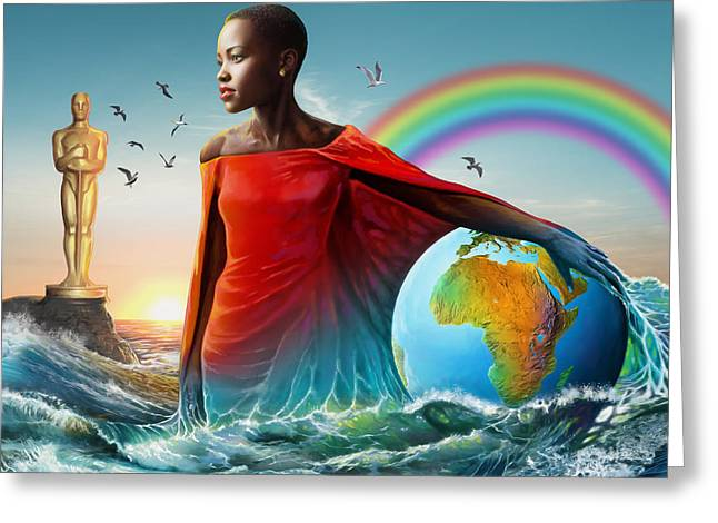 Barrack-obama Greeting Cards - The Lupita Tsunami Greeting Card by Anthony Mwangi
