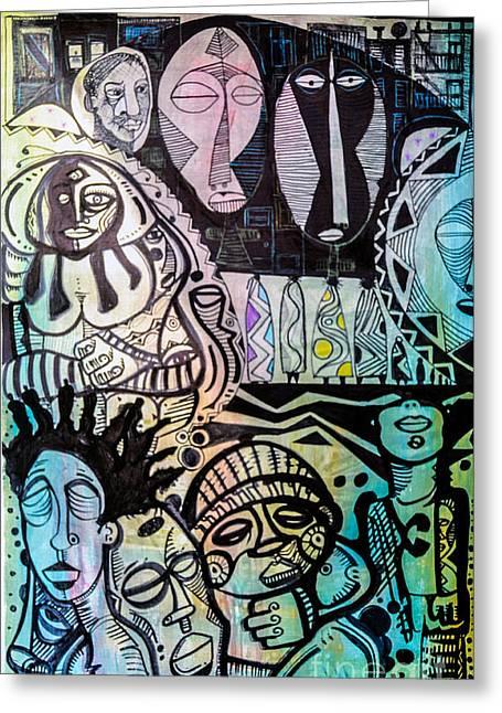 Robert Daniels Drawings Greeting Cards - African Village Greeting Card by Robert Daniels
