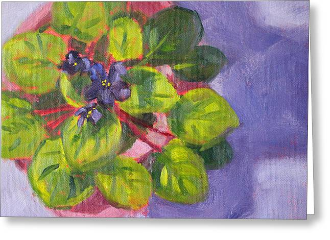 Indoor Still Life Paintings Greeting Cards - African Violet Still Life Oil Painting Greeting Card by Nancy Merkle