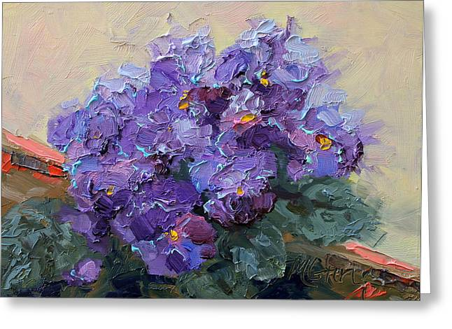 Marie Green Greeting Cards - African Violets Greeting Card by Marie Green