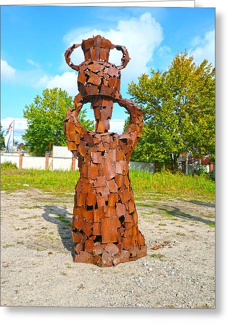 Steel Sculptures Greeting Cards - African Water Carrier Greeting Card by Reiner Poser