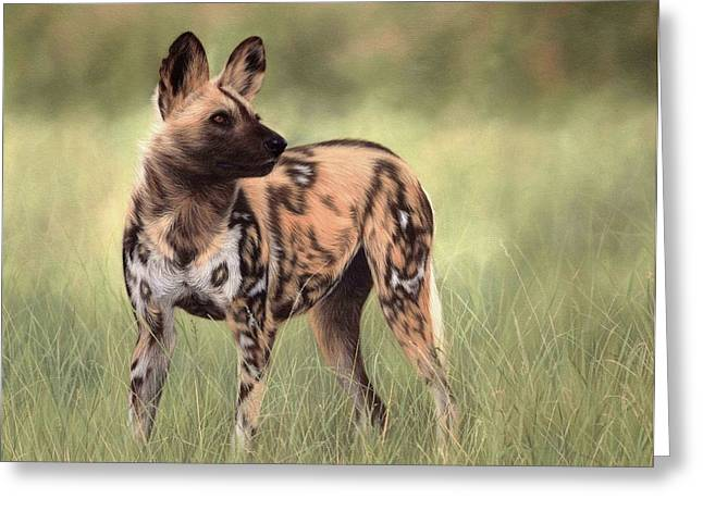 Wild Dog Greeting Cards - African Wild Dog Painting Greeting Card by Rachel Stribbling