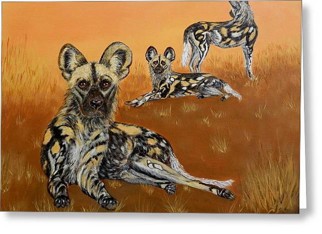 Closely Paintings Greeting Cards - African Wild Dogs At Dusk Greeting Card by Lorna Loxton