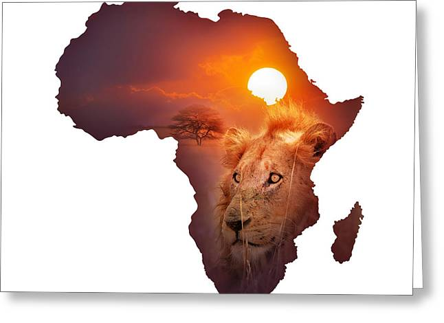 Africa Map Greeting Cards - African Wildlife Map Greeting Card by Johan Swanepoel