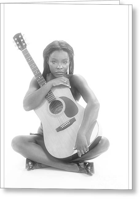 African Greeting Cards - African Woman and Guitar 1012.01 Greeting Card by Kendree Miller