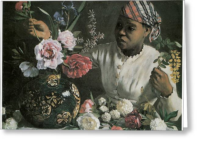 Vase Of Flowers Greeting Cards - African Woman with Peonies Greeting Card by Frederic Bazille